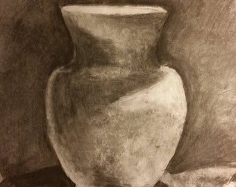 Charcoal Sketch of Clay Vase