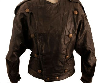 Crop Black Vintage Leather Jacket 80's with metal buttons