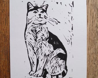 """Original, Unframed, Hand Pulled, Linocut Print - Cooper the Cat- 6""""x4"""" on A5 Paper - lino ink paper"""