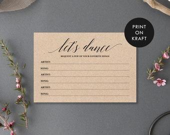 Printable Song Request Card, Minimalist Script, Let's Dance, Instant Download