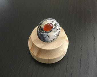 Little Luna Collection - Mixed Metal Tag Ring with Carnelian US 6