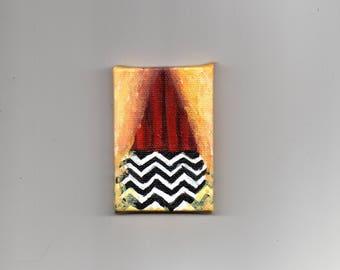 RESERVED Mr. Jackpots glowing slot machine icon miniature 2 x 3 Twin Peaks fan art original acrylic painting on tiny canvas David Lynch surr