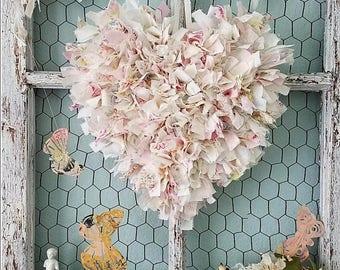 Heart, Wire Heart, Fabric Heart, Pink Heart, Wedding Decor, Sweethearts Table, Flower Girl, Brides Chair, Shabby Chic Nursery, Rag Heart