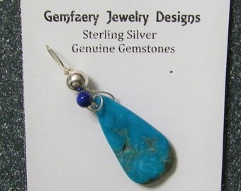 Sterling Silver Wire-Wrapped Natural Nocozari TURQUOISE Teardrop Gemstone Pendant...Handmade USA