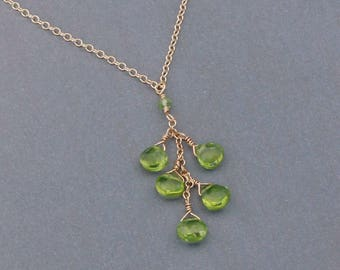 Green Peridot Necklace, August Birthstone Necklace, Peridot Jewelry, Gold Filled or Silver