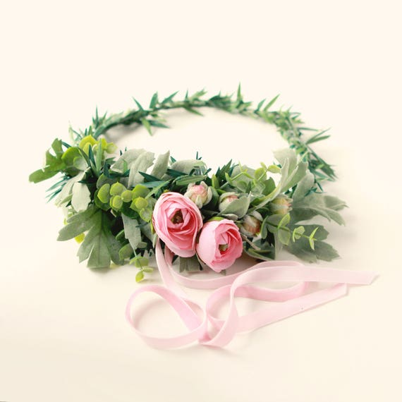 Pink rose woodland crown, Ranunculus and greenery, Artificial floral head wreath, Bridal hair crown, Pink flower wreath, Wedding hair crown