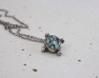 Sterling Silver and Poseidon Variscite Pendant |||  mint green natural stone