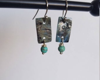 Nickel Free Shell and Magnesite Dangle Earrings