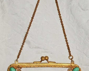 Vintage Purse Frame With Kiss-Clasp Peking Glass Cabochons and Chain in Gold Tone Metal