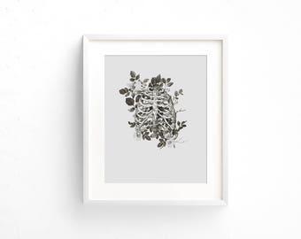 Anatomy Rib Cage and Flowers Fine Art Print, floral print, anatomical print, skeleton print, wall decor,wall art,minimalist decor,8x10 Print