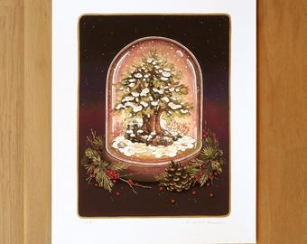 Hand Embellished - Beacon Snowglobe - Fine Art Print by Nicole Gustafsson