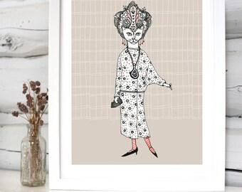 Glamour Kitty illustration print