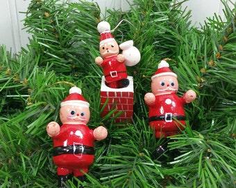 Wood Santa Ornaments, 1980's Hand Painted Santa in Chimney and Standing Set of 3, Taiwan