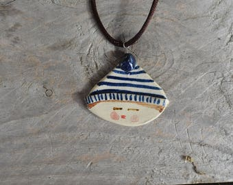 Little boy with blue stripes hat - Stoneware