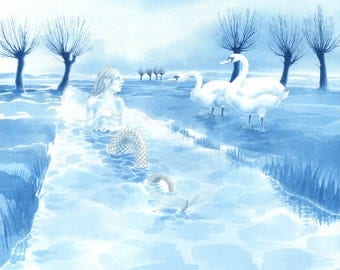 "Original fantasy art painting of a Somerset Mermaid - ""Rhyne Maiden & Swans"" - mermaid and swans on the Somerset Levels"