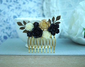 Black and Gold Wedding Hair Comb Black Cream Beige Gold Wedding Black Flower Hair Piece Pin Winter Romantic Comb Bridesmaid Gift Bridal Comb