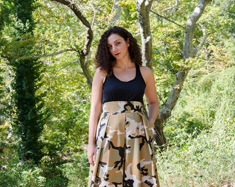 Desert Camo Maxi Skirt, High Waist Cotton Full Skirt Beige Camouflage Army Fatigue Long Skirt with Pockets, Army skirt, Plus Sizes available