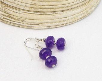 Amethyst Earrings - Sterling Silver - Genuine Gemstones - Gift For Her - Faceted Gemstones - Beaded Earrings - Dangle Earrings