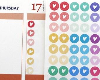 Heart Planner Stickers Dots Rainbow Mini 99