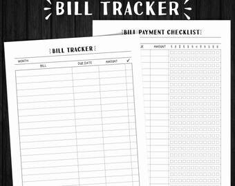 Bill Tracker, Bills Checklist, Monthly Bill Tracker, Bill Tracker Printable, Bill Organizer, Bill Checklist, Bill Planner, Budget Planner