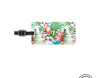 Luggage Tag Tropical Fern Summer Floral Flamingo Personalized Metal Luggage Tag  With Printed Custom Info On Back, Single Tag