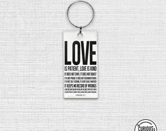 Keychain is Bible Verse 1 CORINTHIANS 13 Key Ring Keychain 1.5 x 3 Inch
