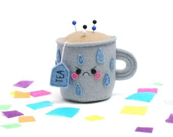 Rainy Day Teacup Pincushion, Felt Pincushion, Limited Edition, Angry Kawaii Craft Supply