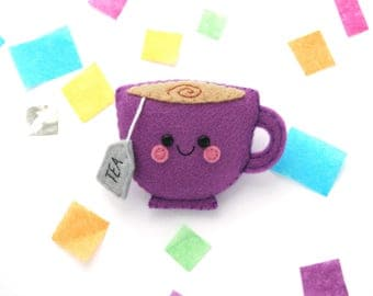 Purple Teacup Felt Brooch, Kawaii Pin, Embroidered Tea, Cute Accessory