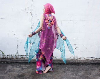 Ethereal Hooded Lace Sparkle Cape- Pick Your Colour!- Burning Man, Festival, Fairy, Princess, Forest, Space, Sequin