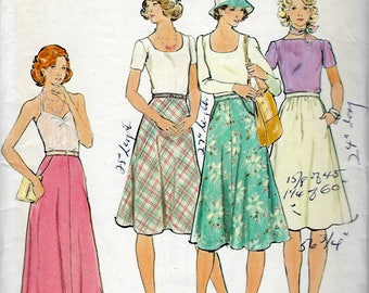 1970's Butterick Sewing Pattern No. 4067 , Flared Skirt in Two Lengths ; Floor Length and Knee Length Skirts - Waist 26 1/2