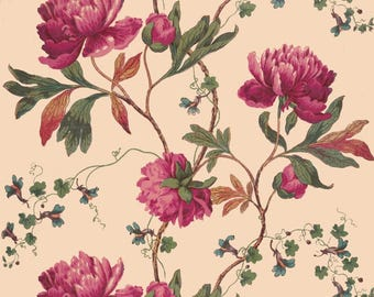 antique French chinoiserie wallpaper pink peonies illustration digital download
