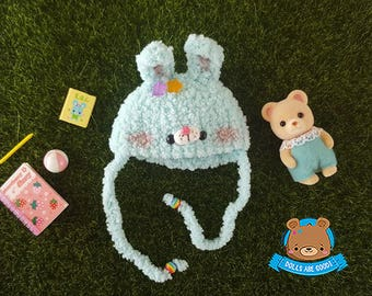 Mint bunny rabbit hat for 5-6 inches heads Pukifee