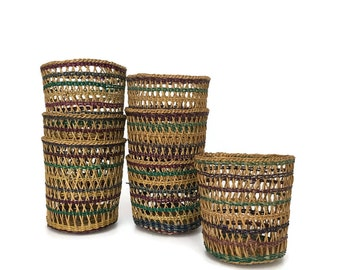 Vintage Set of 7 Natural Woven Straw Cups // Set of Small Baskets // Boho Decor Entertaining