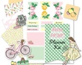 Printable Retro PICNIC Planner Kit!-Digital File Instant Download- die cuts, stickers, digital paper, tabs, Happy Planner, hand drawn