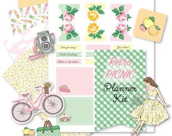 Printable Retro PICNIC Planner Kit!-Digital File Instant Download- die cuts, stickers, digital paper, tabs, Happy Planner, hand drawn