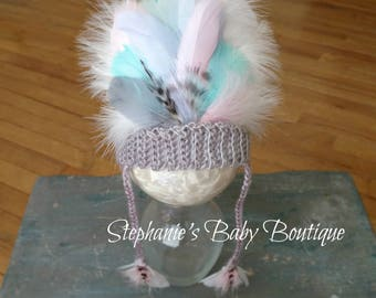 Ready to Ship, Crochet Baby Girl 0-3 Month, Thanksgiving, Indian Headdress, Native American, Feather Headpiece, Photo Prop, Shower Gift
