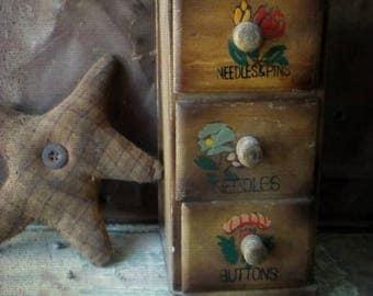 Farmhouse Rustic Chippy Primitive Wall Decor. Shabby Rustic Wood Cabinet. 3 Drawer Storage Shelf. Tabletop Cubby