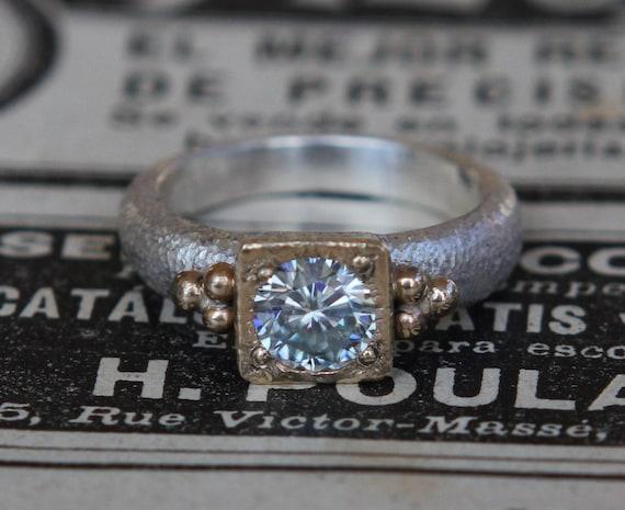 Genuine Moissanite Ring, Mothers Day Gift, Wabi-Sabi, Modern Engagement Ring, Alternative Engagement Ring, Oxidized Sterling Silver