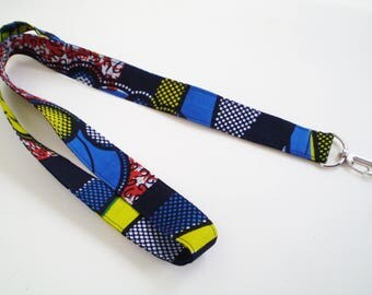 Blue Red Yellow African Lanyard, Blue African Lanyard, Men's African Lanyard, African Key Lanyard, African ID Badge Holder