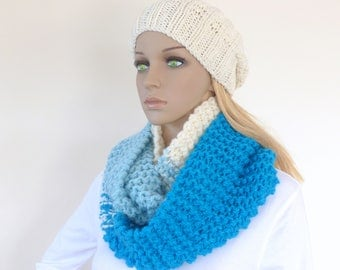 Blue Infinity Scarf Chunky Knit Cowl Multicolour Chunky Circle Scarf Cream Womens Winter Scarf