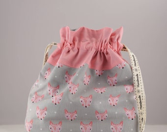 Knitting project bag small pink fox print sock shawl drawstring bag