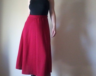 Red Sweater Skirt | vintage crimson red knit aline circle midi tea length preppy professional holiday warm long maxi SKIRT small large M S L