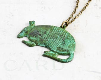 Patina Armadillo Necklace, Aged Green Animal Pendant on Antiqued Brass Chain, Nature Lover Gift, Southwestern Jewelry