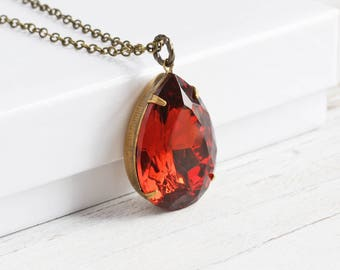 Large Autumn Color Topaz Rhinestone Teardrop Pendant Necklace on Antiqued Brass Chain (25mm)