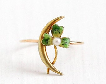 Sale - Antique Shamrock Ring - Vintage 10k Yellow Gold Crescent Moon Green Enamel - Seed Pearl Size 4 1/4 Stick Pin Conversion Jewelry