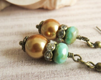 Copper with turquoise pearl earrings, dangle earrings, rustic jewelry, gift for her, bridesmaid earrings