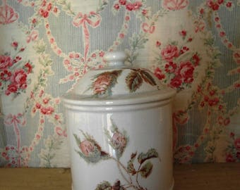 Antique French kitchen jar/pot with moss roses Choisy le Roi