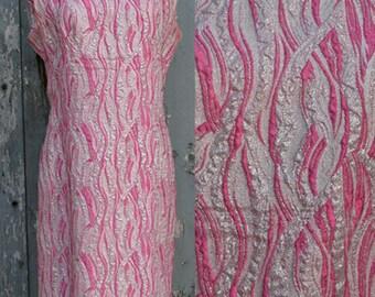 Vintage Sleeveless Pink Sparkle Shift Dress Size M/L