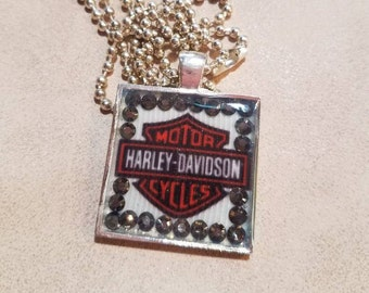 Harley Davidson resin necklace, woman's  Harley Jewelry , Bar and sheild, biker jewelry, motor cycle necklace. Live to ride
