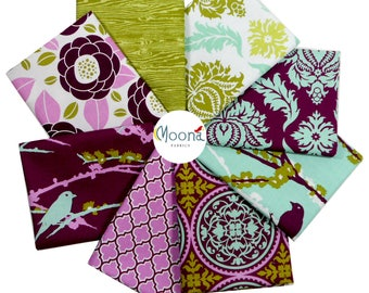 Joel Dewberry Fat Quarter Fabric Bundle, Aviary 2, Purple Fabric, Lilac Fabric, Bird Fabric, Cotton Fabric, Quilt Fabric, Woodland Fabric